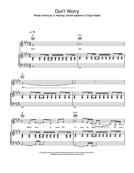 Download Appleton 'Don't Worry' Digital Sheet Music Notes & Chords and start playing in minutes