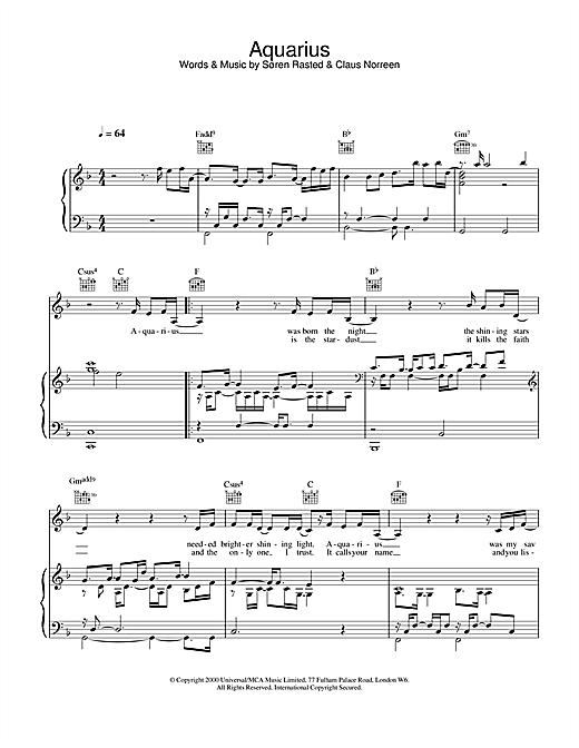 Aqua Aquarius sheet music notes and chords