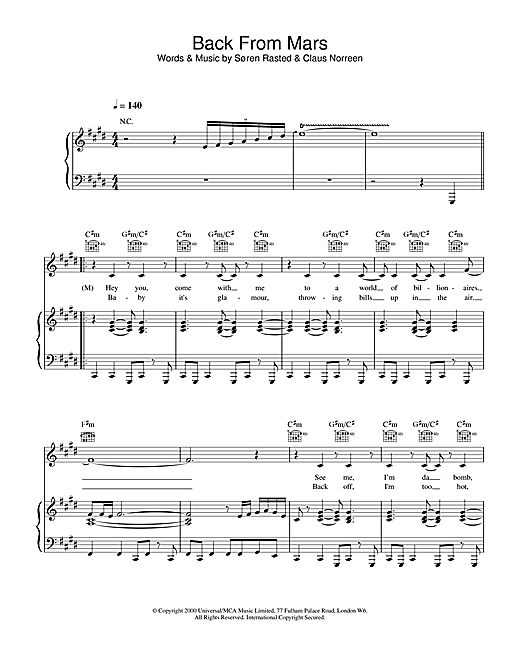 Aqua Back From Mars sheet music notes and chords