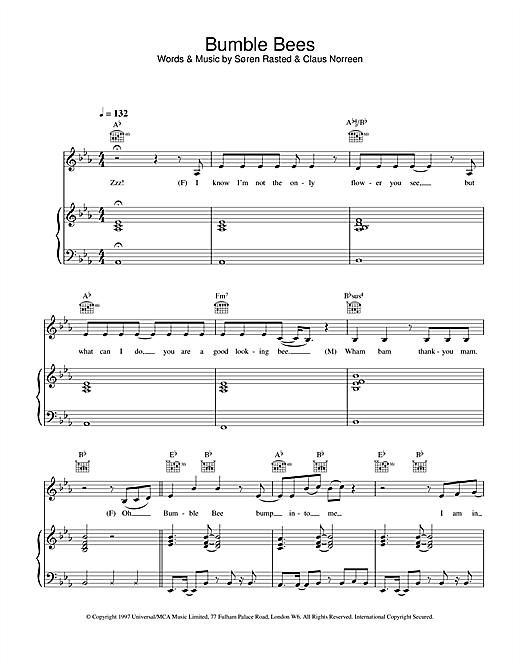 Aqua Bumble Bees sheet music notes and chords