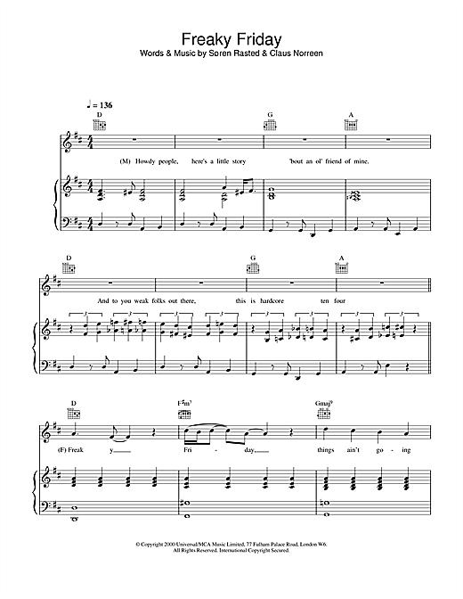 Aqua Freaky Friday sheet music notes and chords