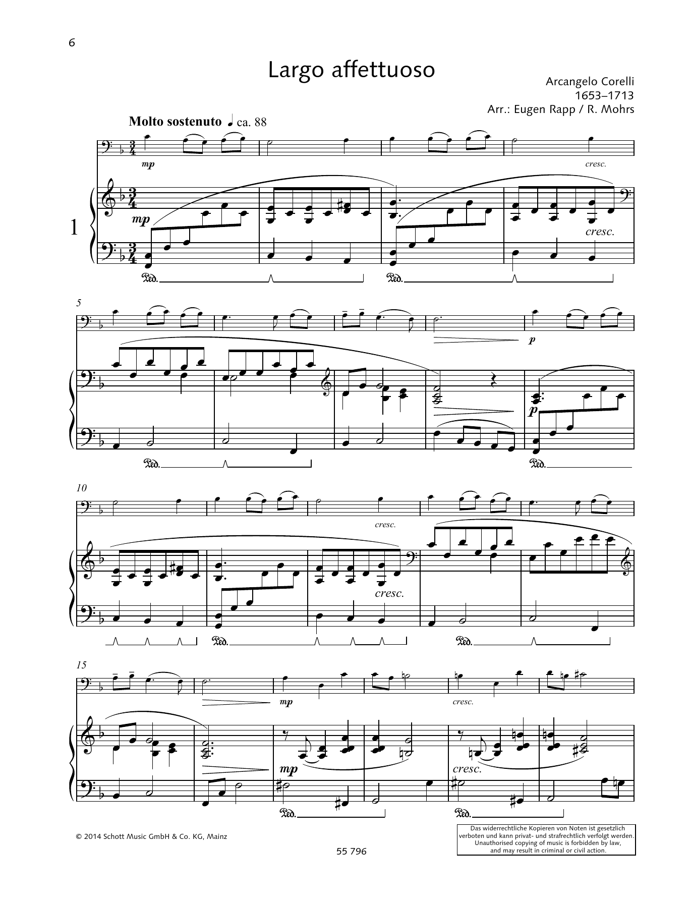 Arcangelo Corelli Largo affettuoso sheet music preview music notes and score for String Solo including 3 page(s)