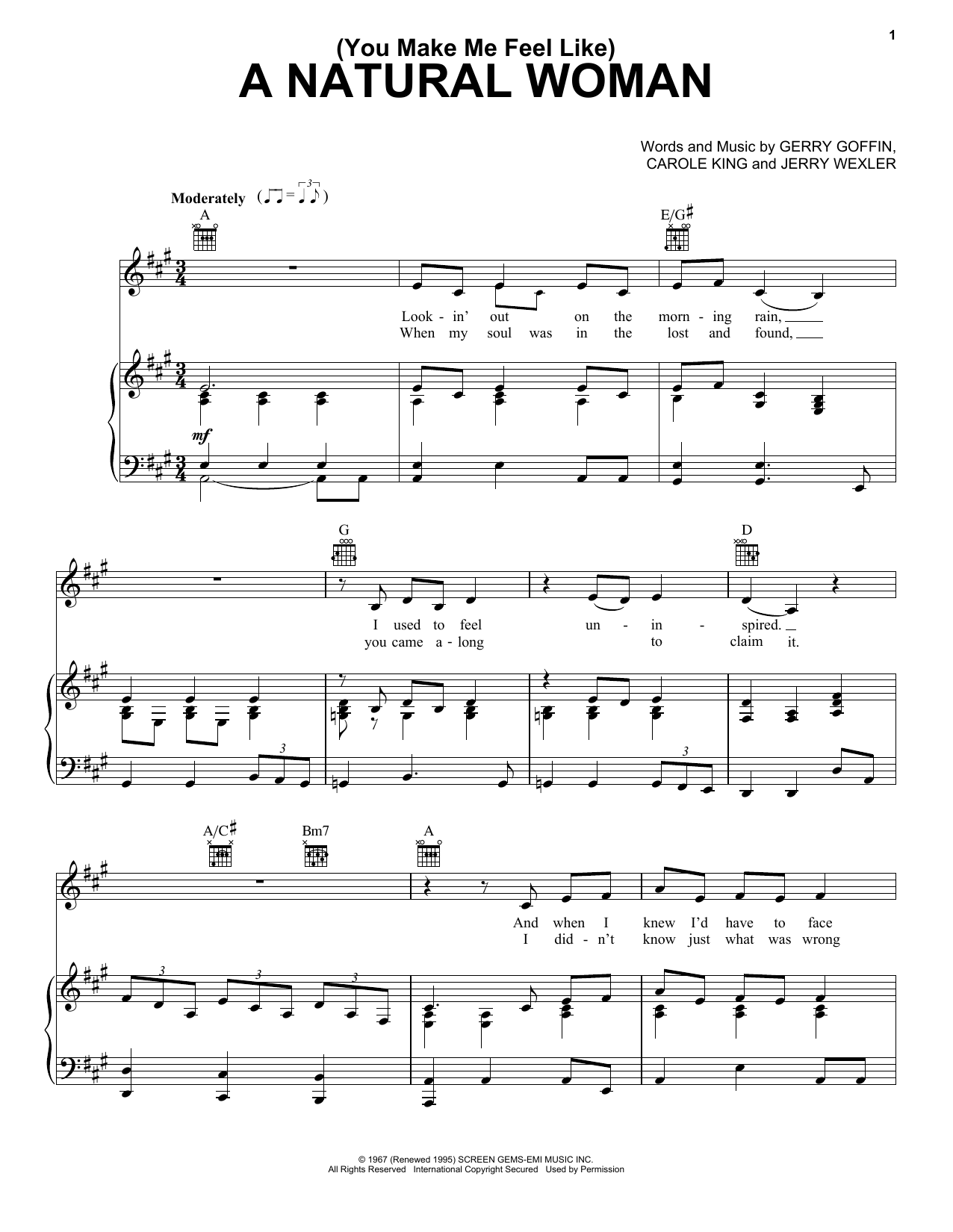 Download Aretha Franklin '(You Make Me Feel Like) A Natural Woman' Digital Sheet Music Notes & Chords and start playing in minutes
