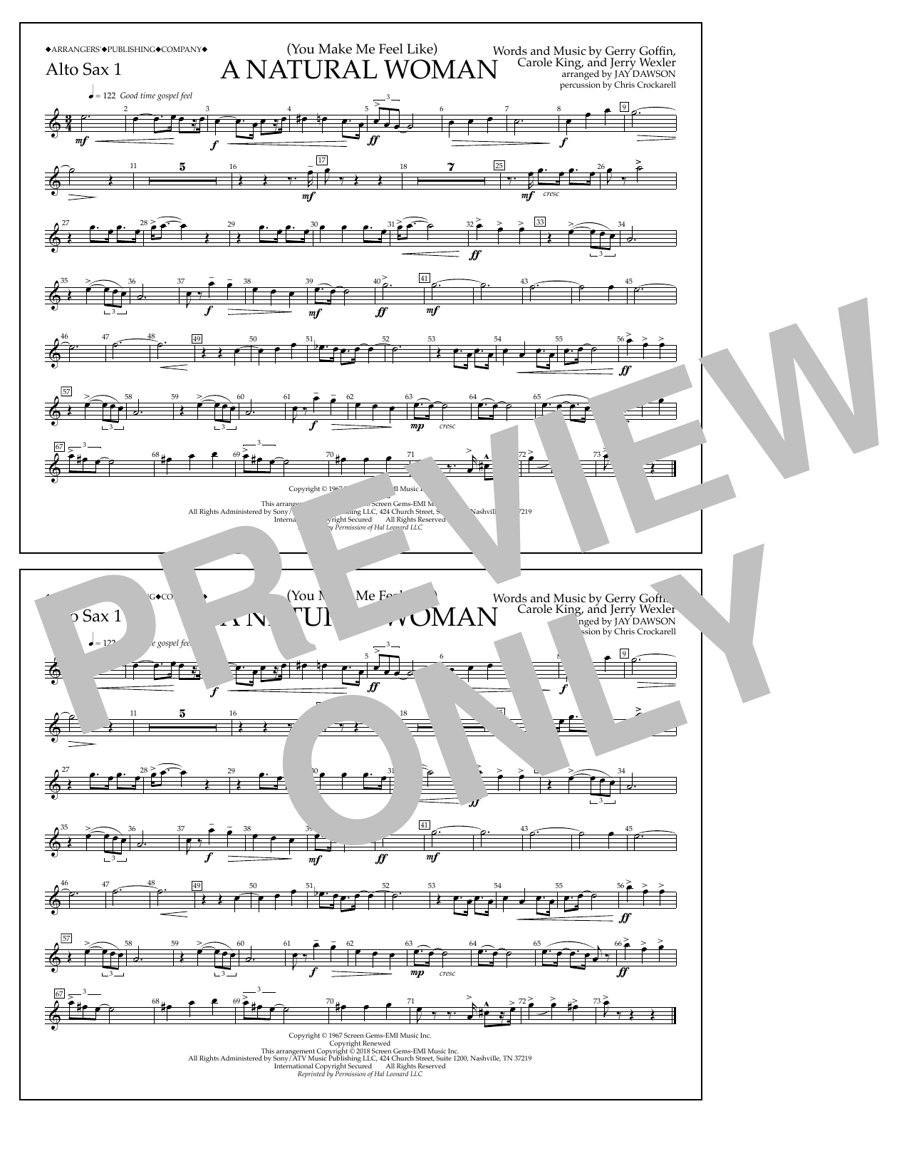 Download Aretha Franklin '(You Make Me Feel Like) A Natural Woman (arr. Jay Dawson) - Alto Sax 1' Digital Sheet Music Notes & Chords and start playing in minutes