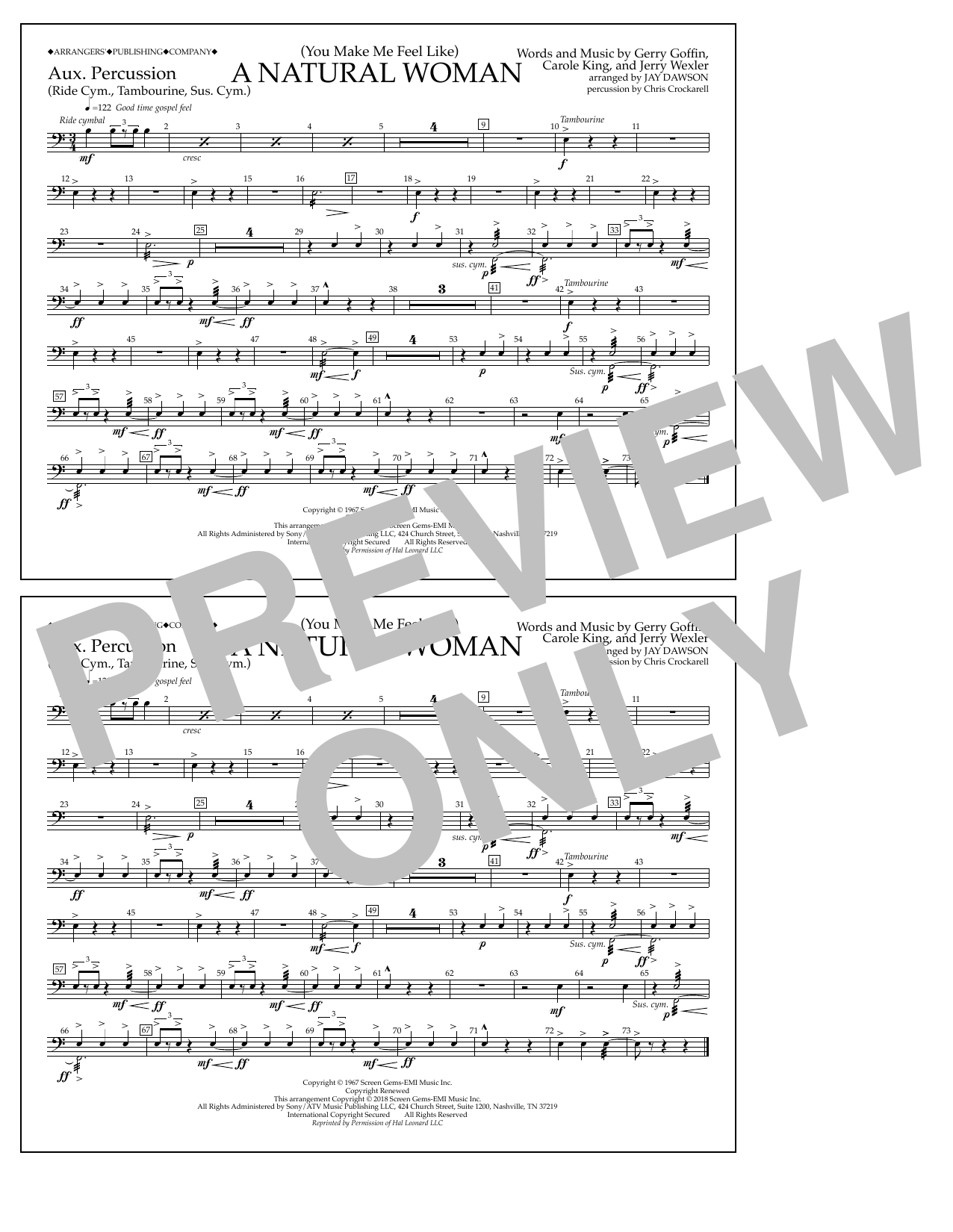 Download Aretha Franklin '(You Make Me Feel Like) A Natural Woman (arr. Jay Dawson) - Aux Percussion' Digital Sheet Music Notes & Chords and start playing in minutes