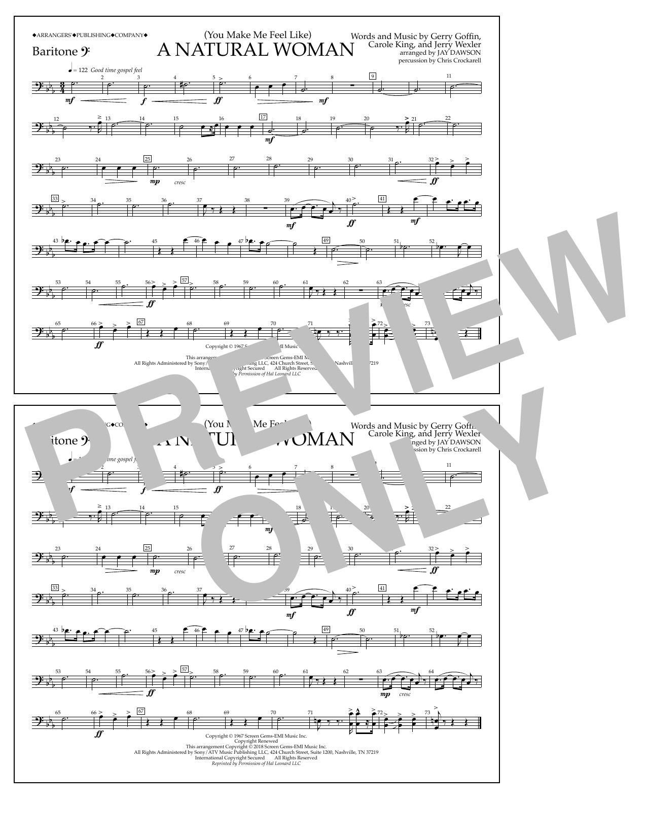 Download Aretha Franklin '(You Make Me Feel Like) A Natural Woman (arr. Jay Dawson) - Baritone B.C.' Digital Sheet Music Notes & Chords and start playing in minutes