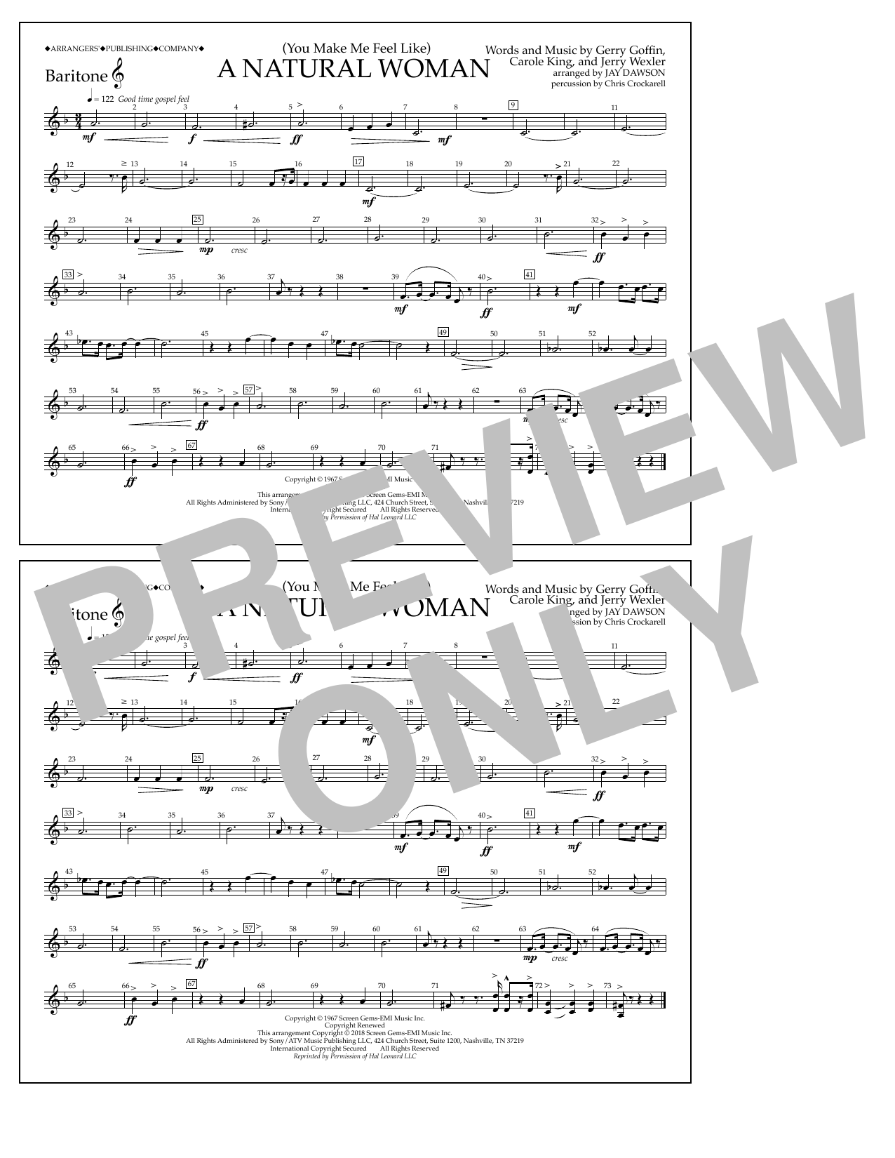 Download Aretha Franklin '(You Make Me Feel Like) A Natural Woman (arr. Jay Dawson) - Baritone T.C.' Digital Sheet Music Notes & Chords and start playing in minutes