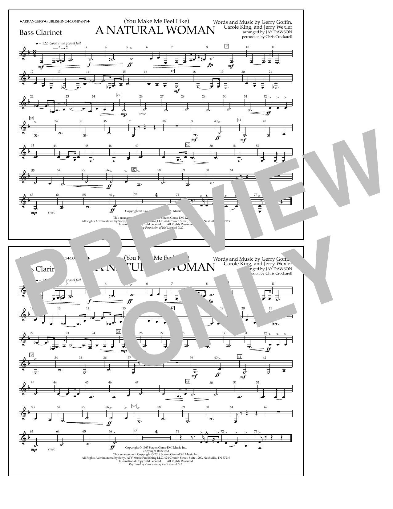 Download Aretha Franklin '(You Make Me Feel Like) A Natural Woman (arr. Jay Dawson) - Bass Clarinet' Digital Sheet Music Notes & Chords and start playing in minutes