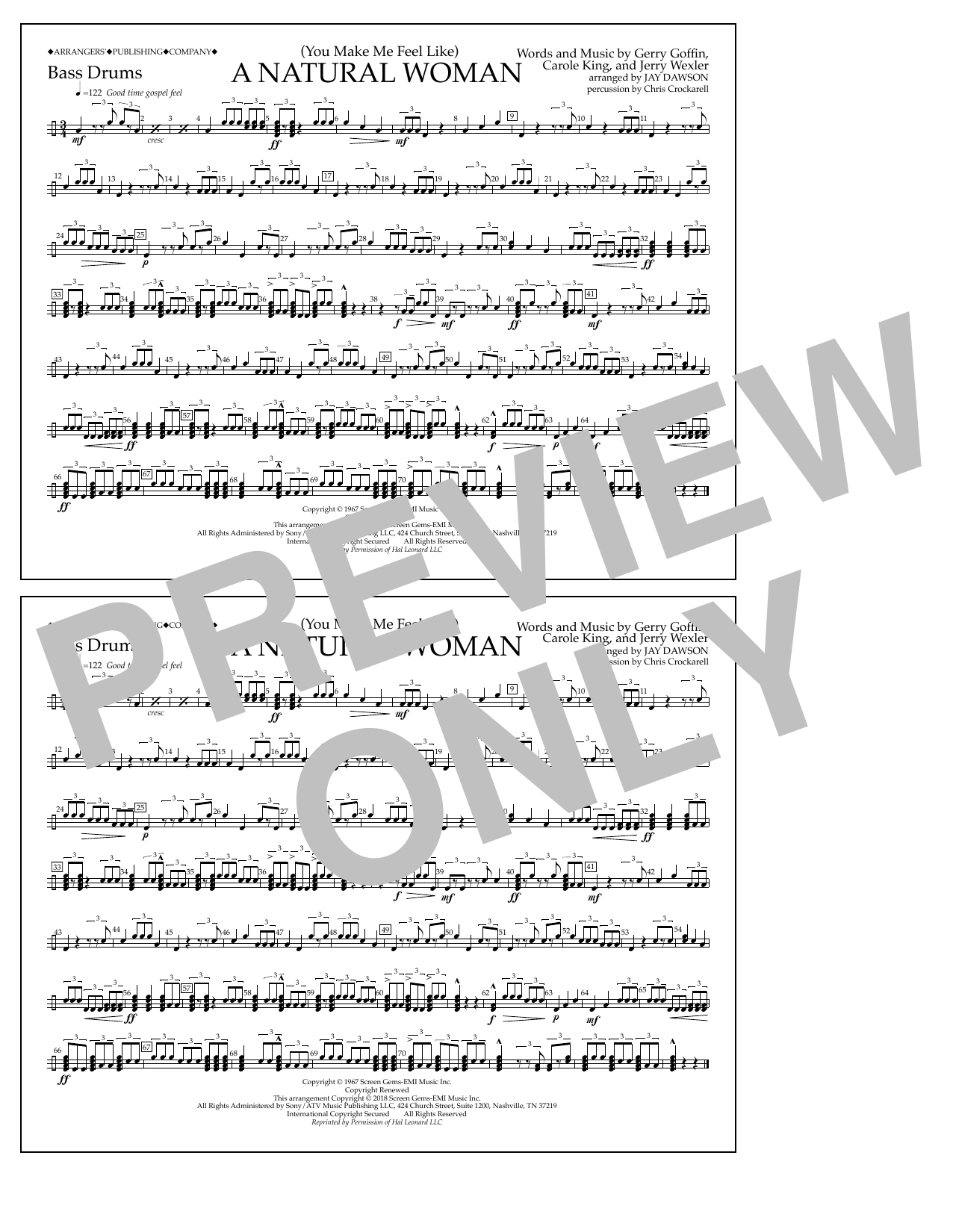 Download Aretha Franklin '(You Make Me Feel Like) A Natural Woman (arr. Jay Dawson) - Bass Drums' Digital Sheet Music Notes & Chords and start playing in minutes