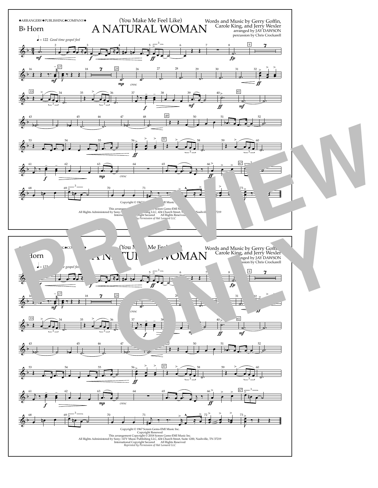 Download Aretha Franklin '(You Make Me Feel Like) A Natural Woman (arr. Jay Dawson) - Bb Horn' Digital Sheet Music Notes & Chords and start playing in minutes