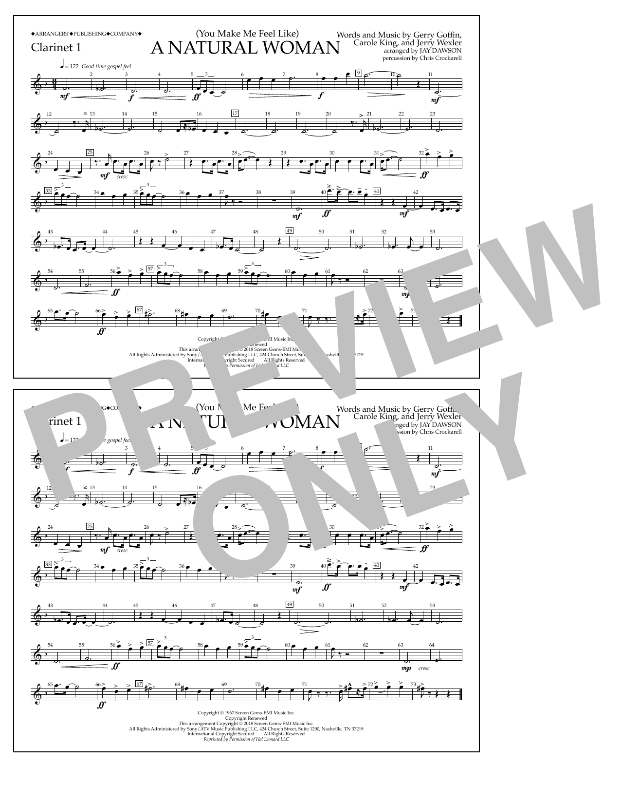 Download Aretha Franklin '(You Make Me Feel Like) A Natural Woman (arr. Jay Dawson) - Clarinet 1' Digital Sheet Music Notes & Chords and start playing in minutes
