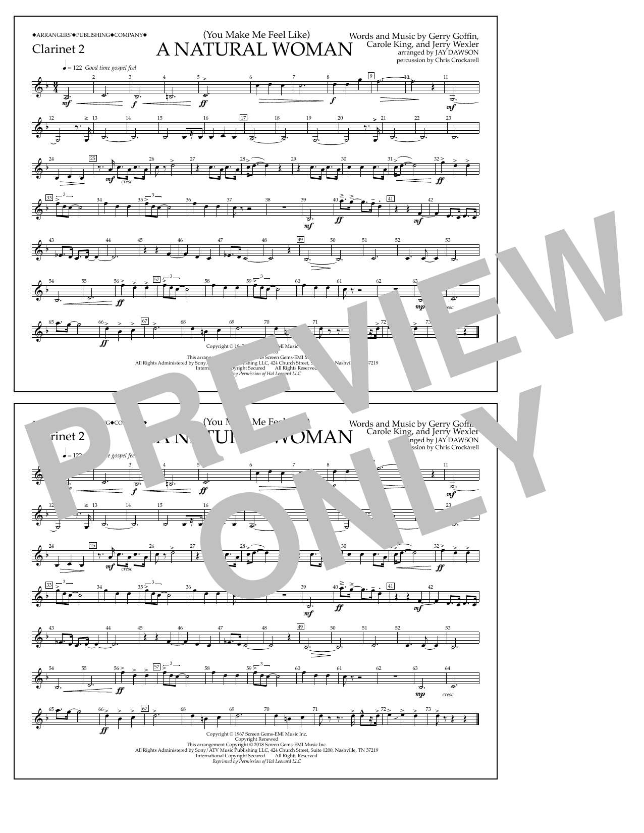 Download Aretha Franklin '(You Make Me Feel Like) A Natural Woman (arr. Jay Dawson) - Clarinet 2' Digital Sheet Music Notes & Chords and start playing in minutes
