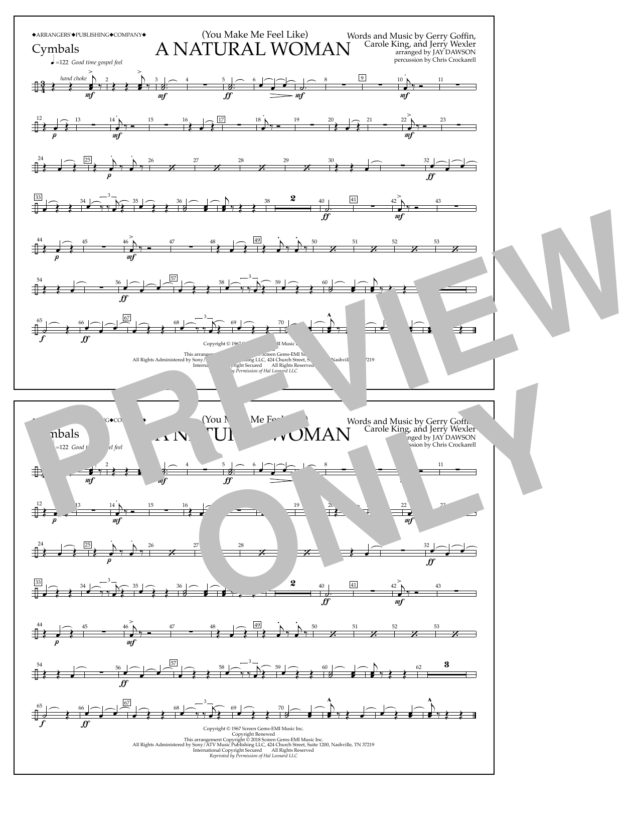 Download Aretha Franklin '(You Make Me Feel Like) A Natural Woman (arr. Jay Dawson) - Cymbals' Digital Sheet Music Notes & Chords and start playing in minutes