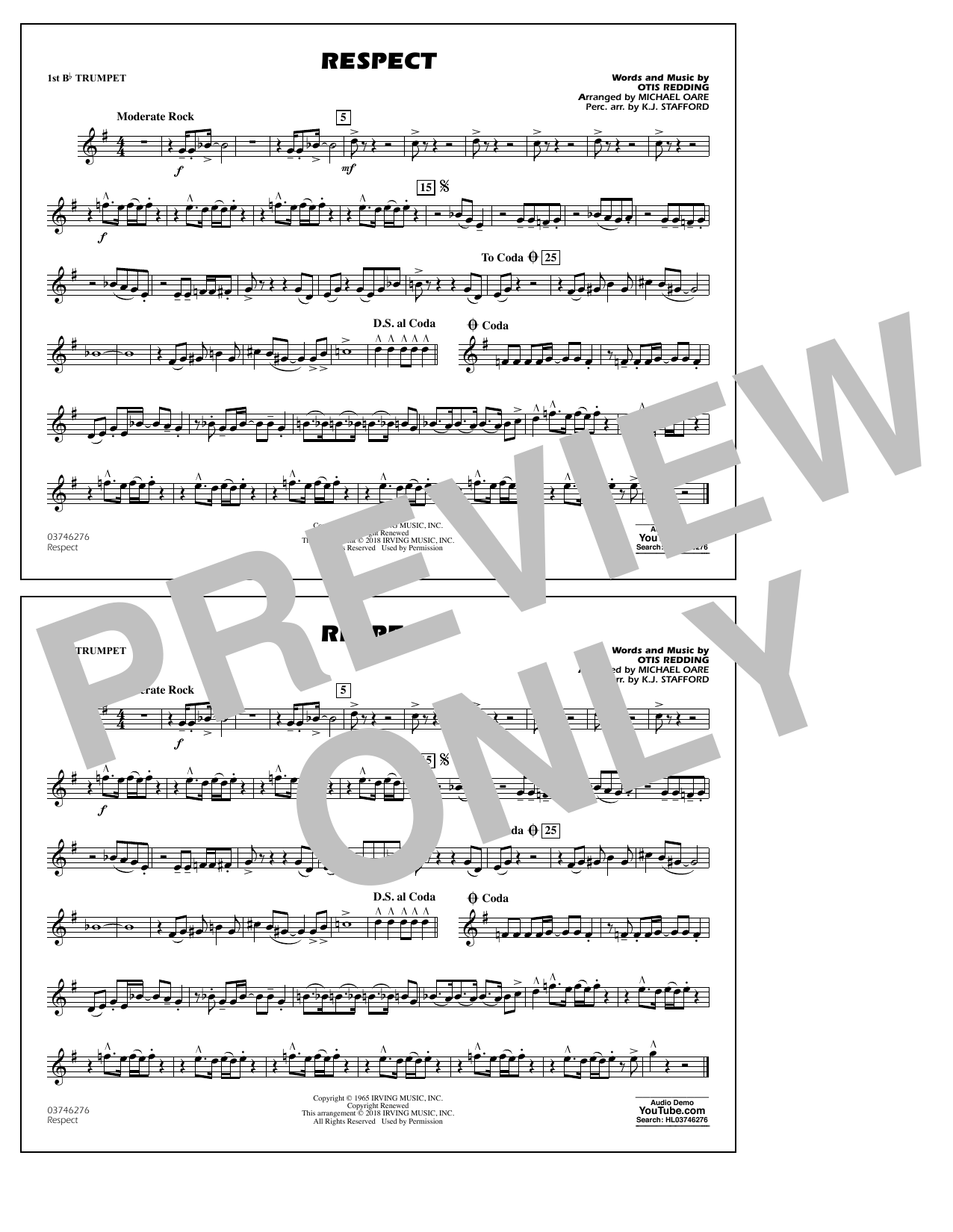 Aretha Franklin Respect (arr. Michael Oare) - 1st Bb Trumpet sheet music preview music notes and score for Marching Band including 1 page(s)