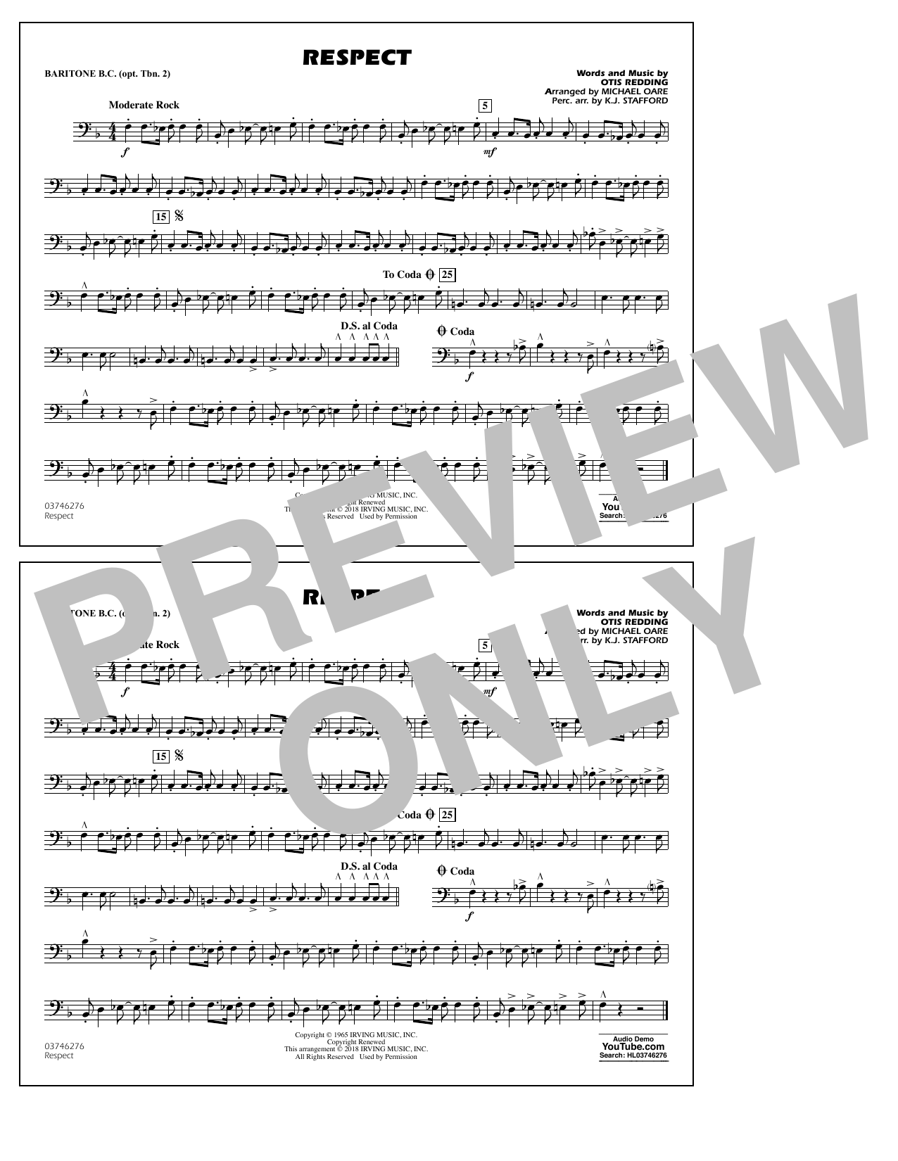 Aretha Franklin Respect (arr. Michael Oare) - Baritone B.C. (Opt. Tbn. 2) sheet music preview music notes and score for Marching Band including 1 page(s)