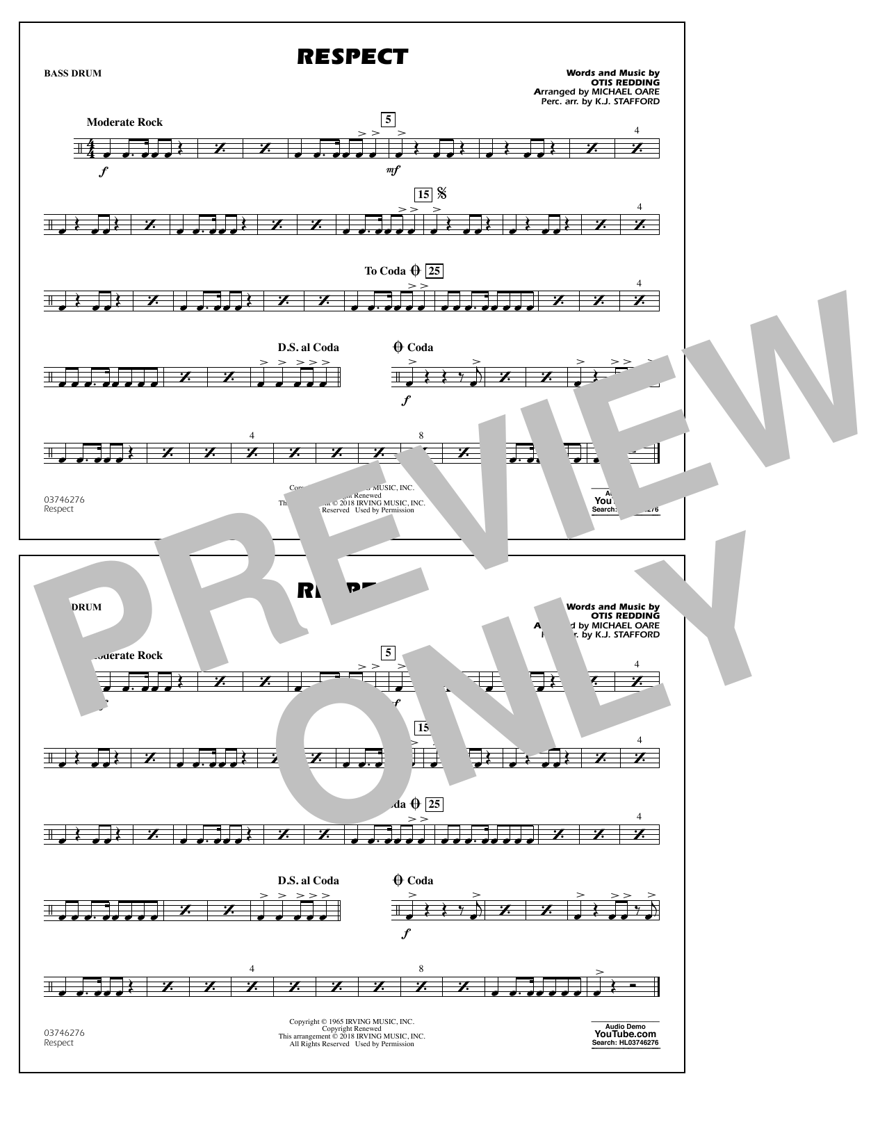 Aretha Franklin Respect (arr. Michael Oare) - Bass Drum sheet music preview music notes and score for Marching Band including 1 page(s)