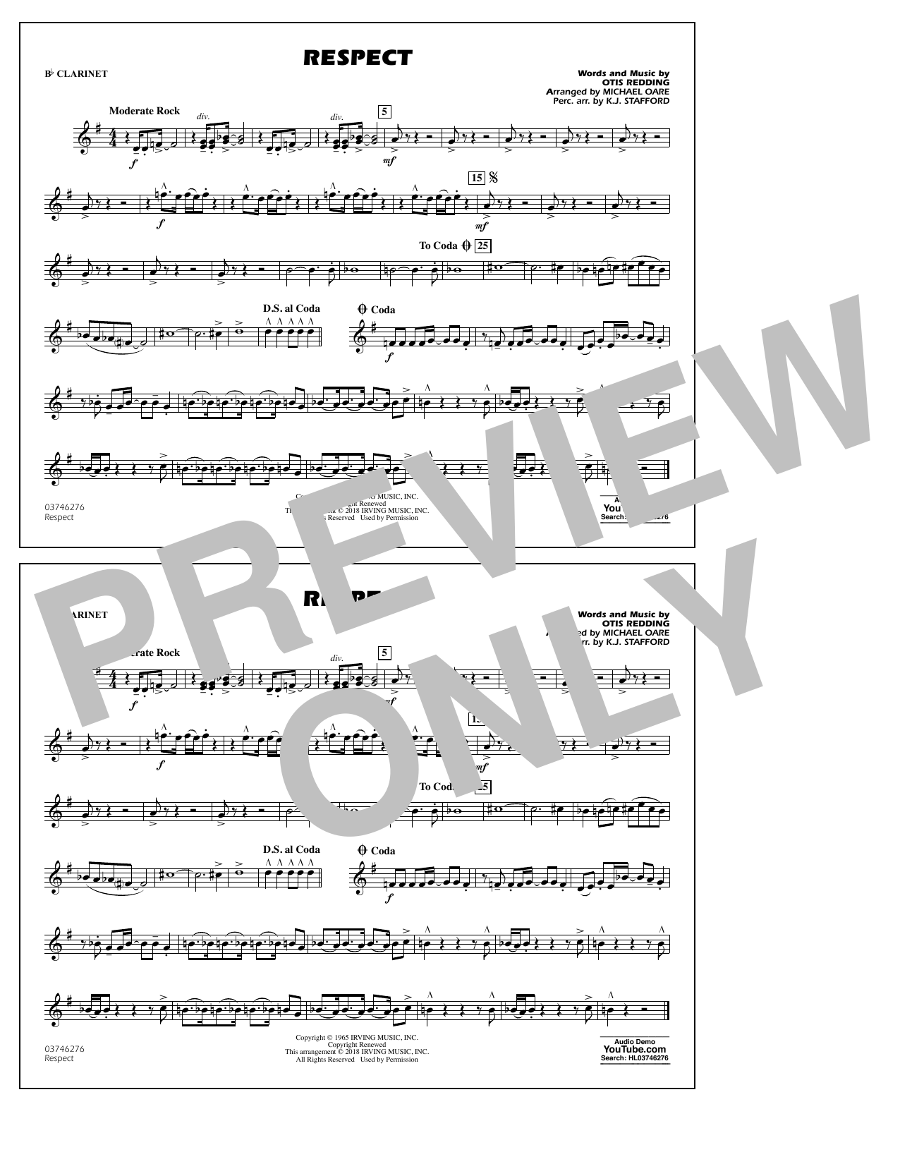 Aretha Franklin Respect (arr. Michael Oare) - Bb Clarinet sheet music preview music notes and score for Marching Band including 1 page(s)