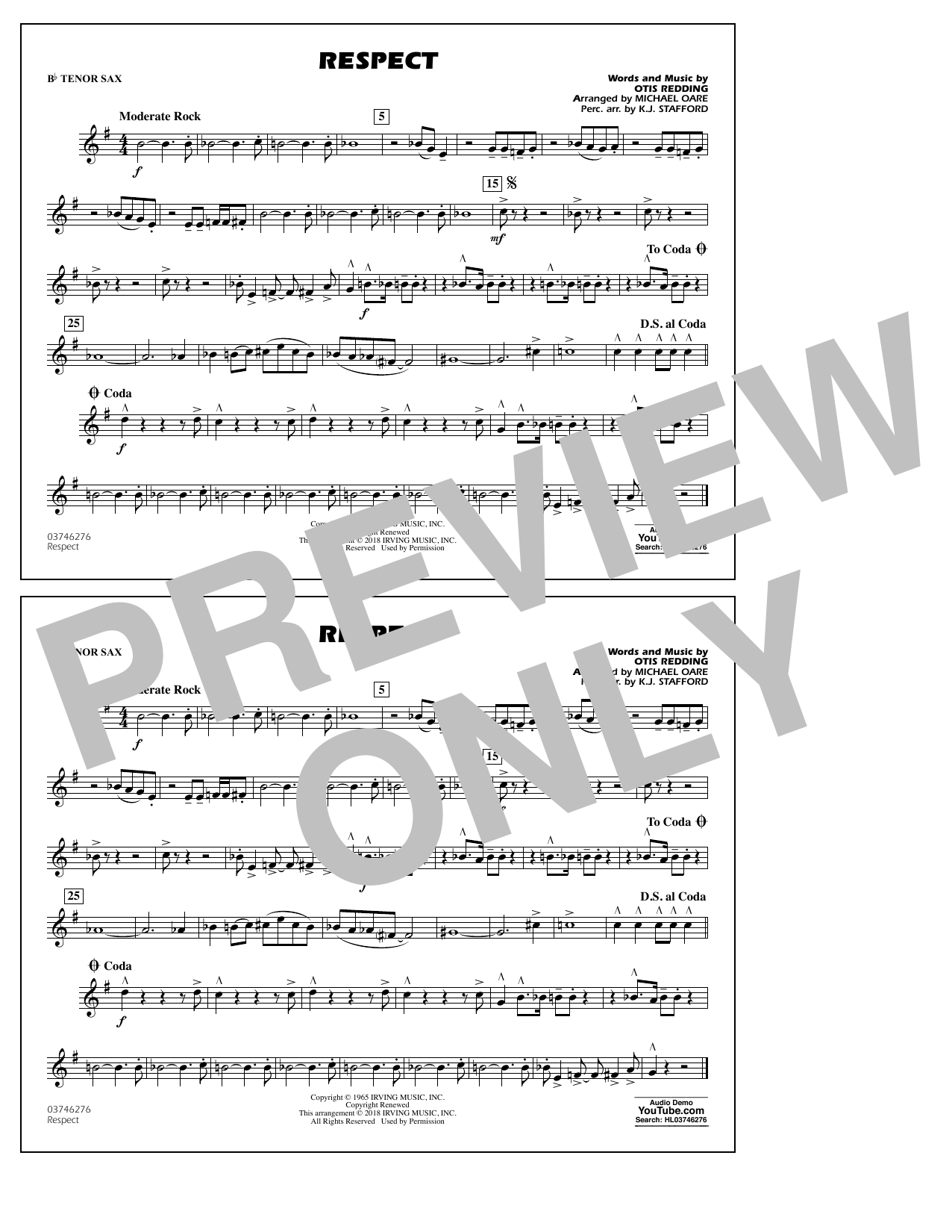 Aretha Franklin Respect (arr. Michael Oare) - Bb Tenor Sax sheet music preview music notes and score for Marching Band including 1 page(s)