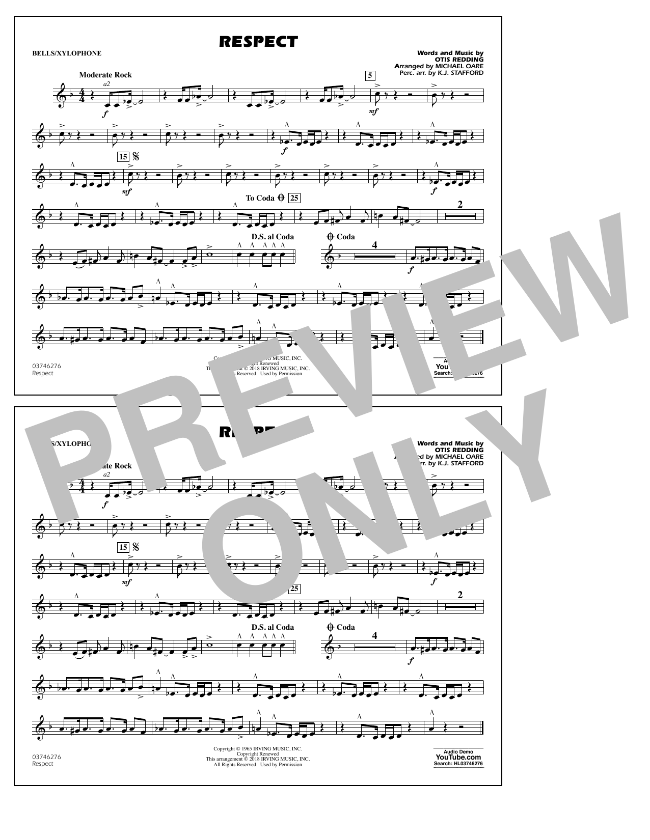 Aretha Franklin Respect (arr. Michael Oare) - Bells/Xylophone sheet music preview music notes and score for Marching Band including 1 page(s)
