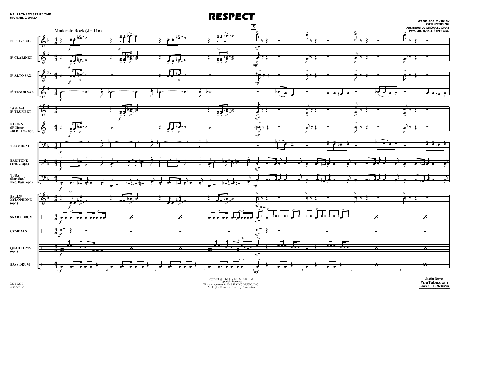Aretha Franklin Respect (arr. Michael Oare) - Conductor Score (Full Score) sheet music preview music notes and score for Marching Band including 6 page(s)