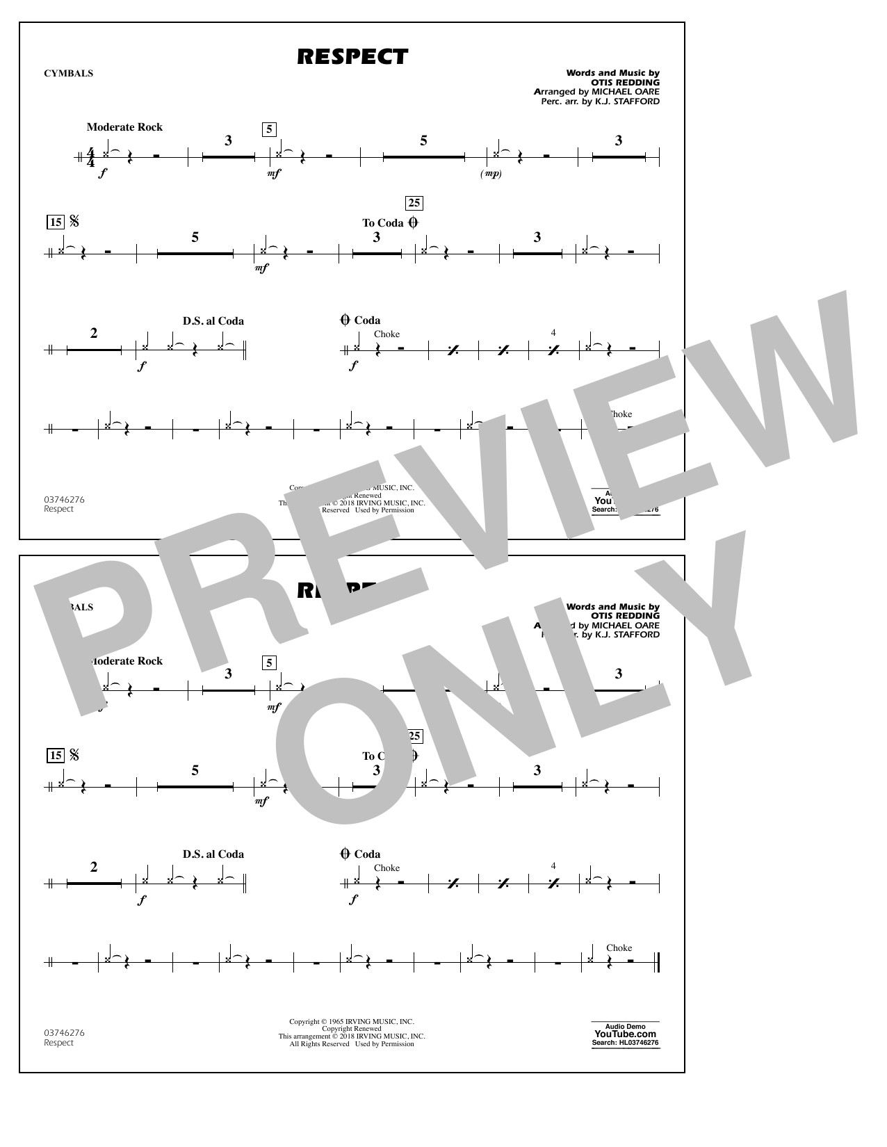 Aretha Franklin Respect (arr. Michael Oare) - Cymbals sheet music preview music notes and score for Marching Band including 1 page(s)