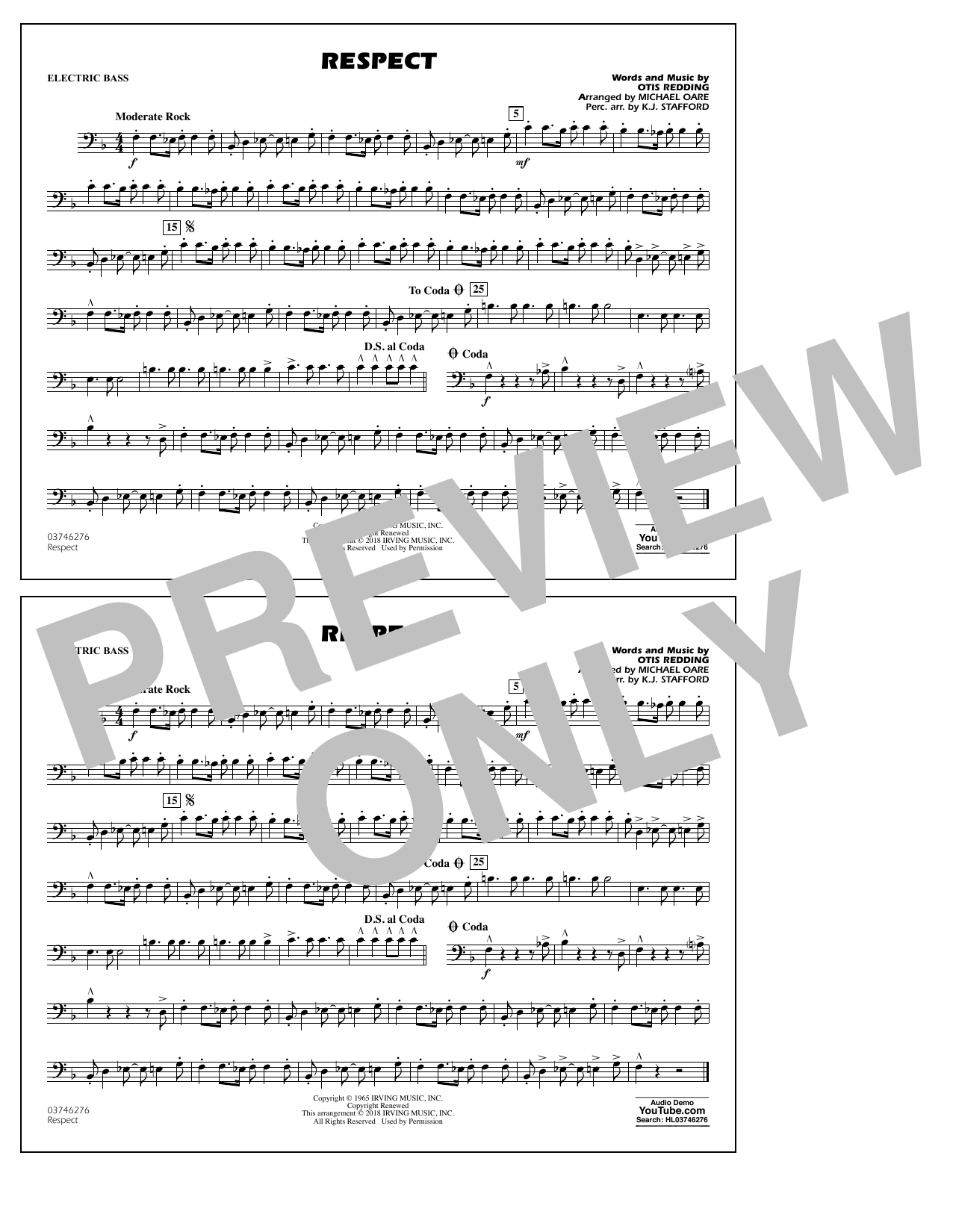 Aretha Franklin Respect (arr. Michael Oare) - Electric Bass sheet music preview music notes and score for Marching Band including 1 page(s)
