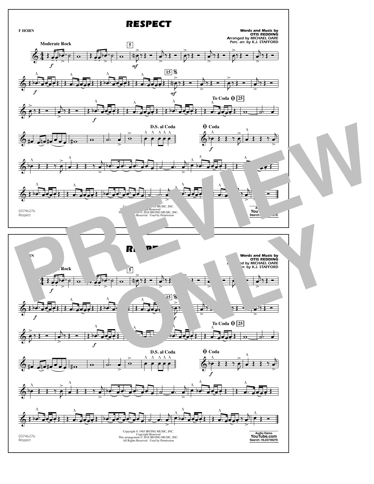 Aretha Franklin Respect (arr. Michael Oare) - F Horn sheet music preview music notes and score for Marching Band including 1 page(s)