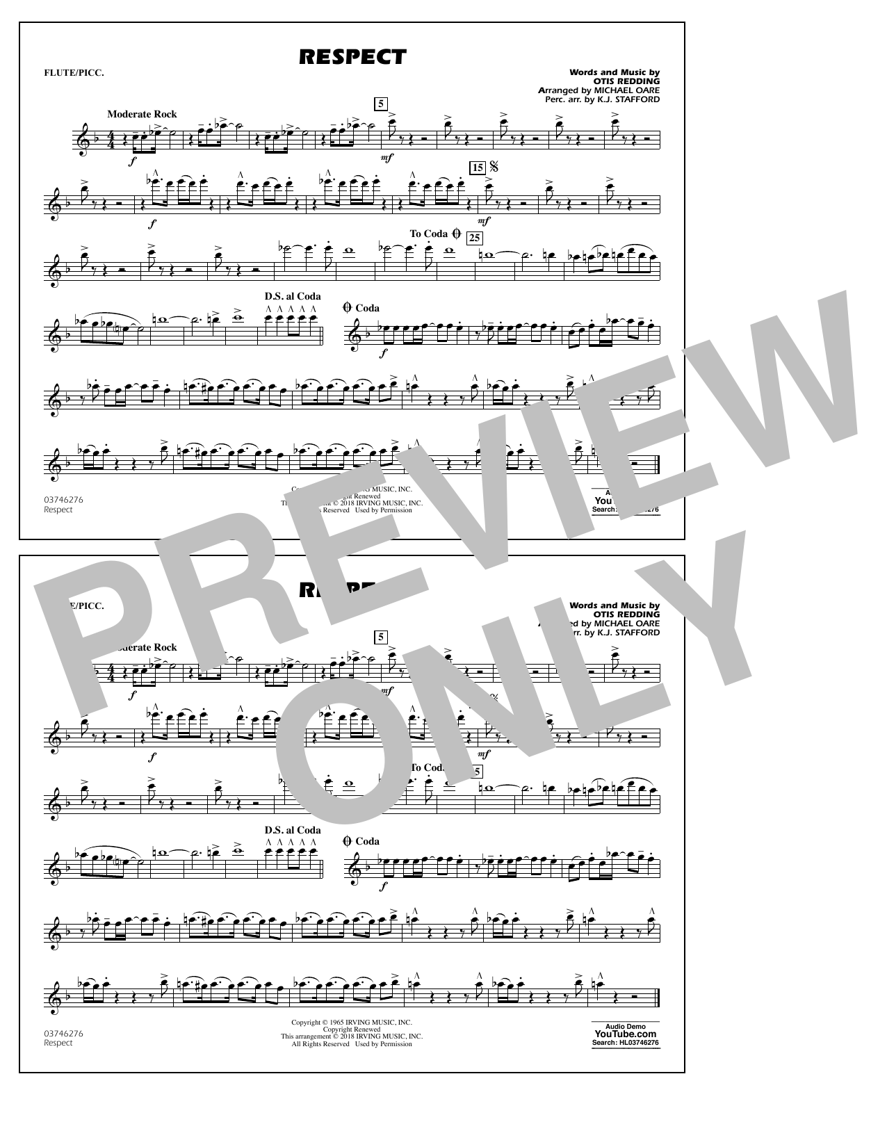 Aretha Franklin Respect (arr. Michael Oare) - Flute/Piccolo sheet music preview music notes and score for Marching Band including 1 page(s)