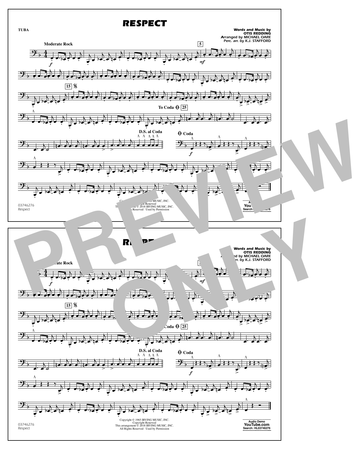 Aretha Franklin Respect (arr. Michael Oare) - Tuba sheet music preview music notes and score for Marching Band including 1 page(s)