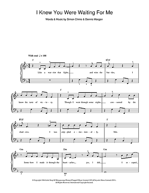 Aretha Franklin & George Michael I Knew You Were Waiting (For Me) sheet music preview music notes and score for Beginner Piano including 2 page(s)