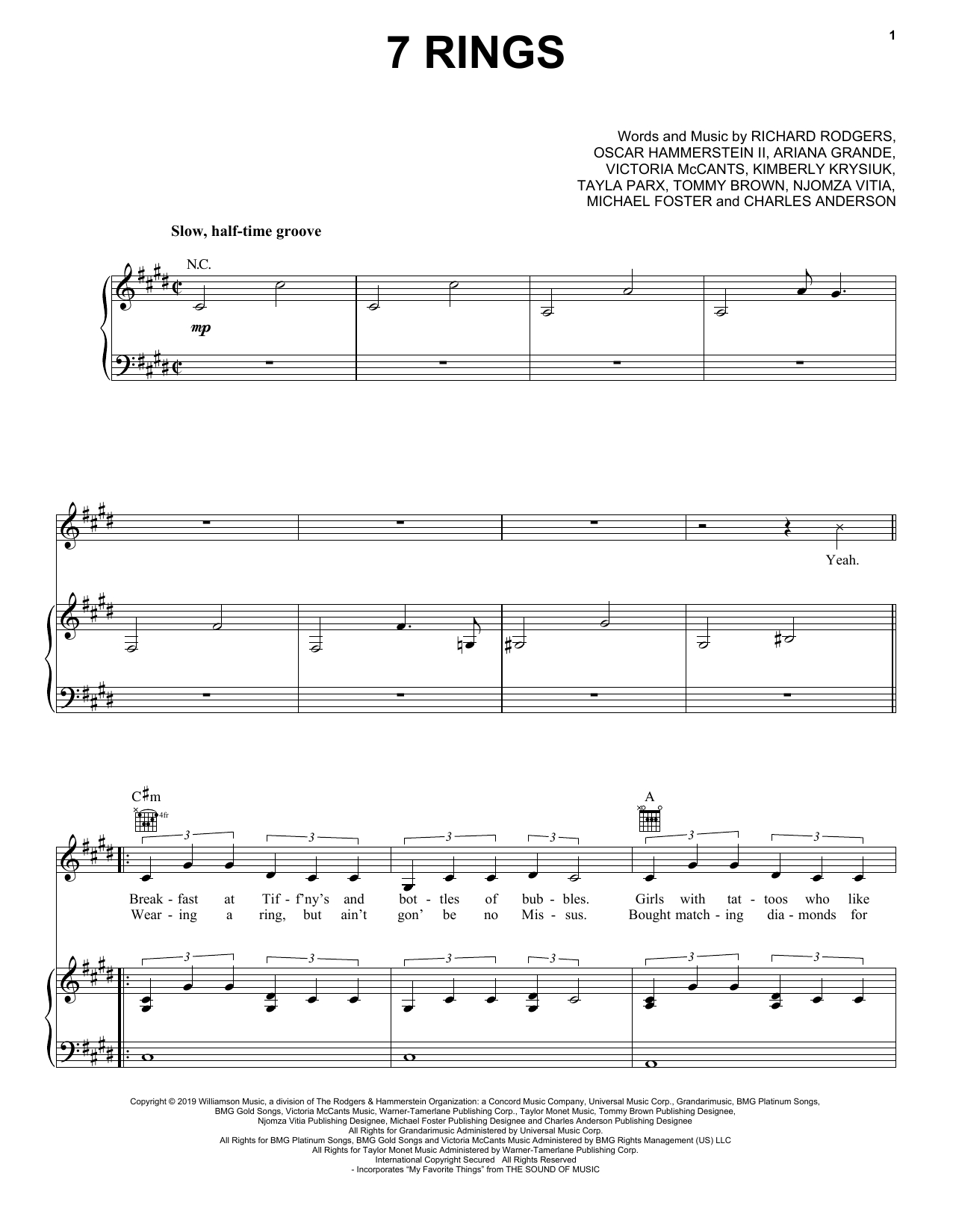 Download Ariana Grande '7 Rings' Digital Sheet Music Notes & Chords and start playing in minutes