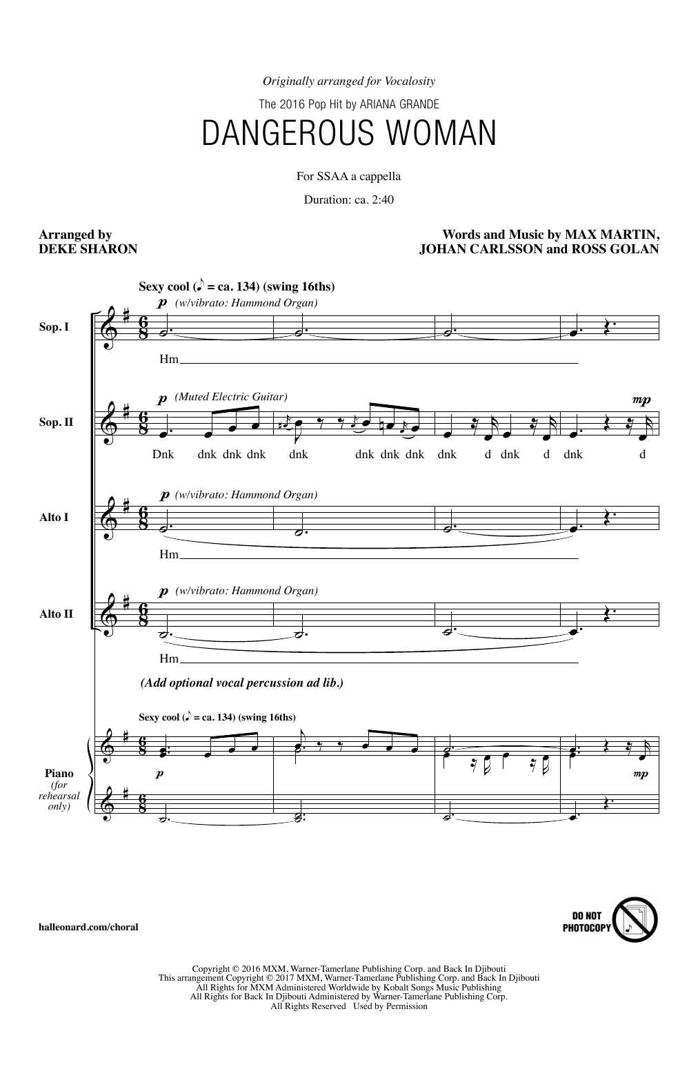 Download Deke Sharon 'Dangerous Woman' Digital Sheet Music Notes & Chords and start playing in minutes