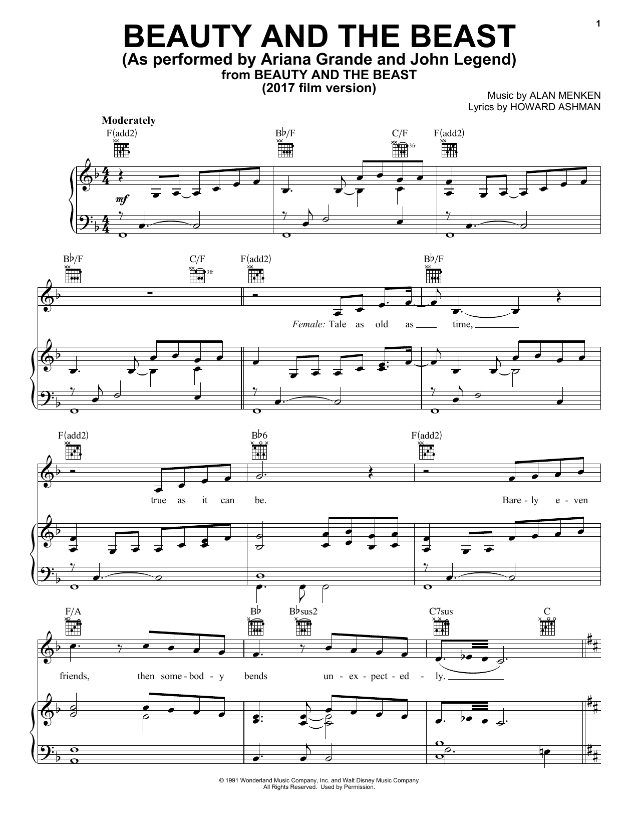 Download Ariana Grande & John Legend 'Beauty And The Beast' Digital Sheet Music Notes & Chords and start playing in minutes