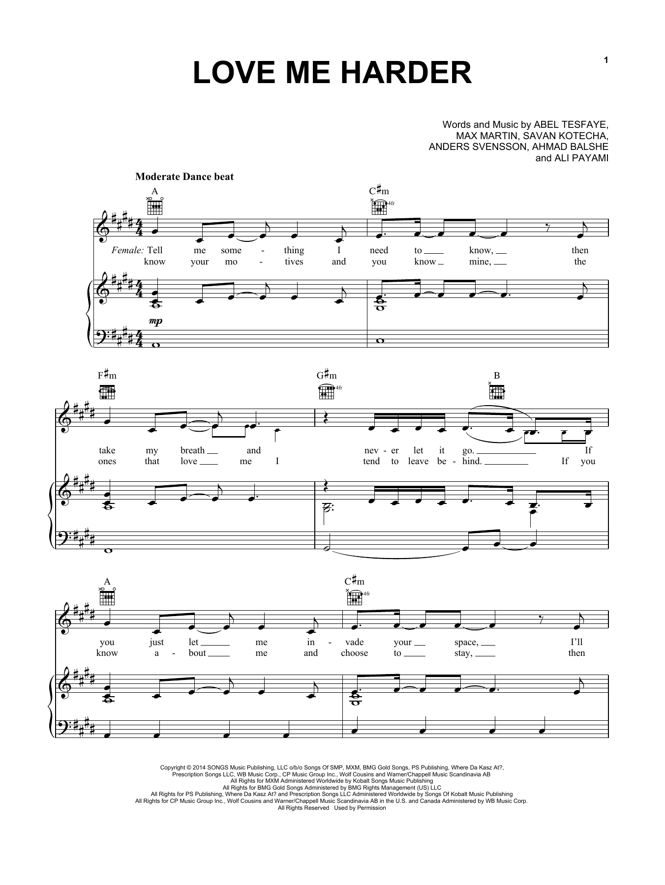 Download Ariana Grande & The Weeknd 'Love Me Harder' Digital Sheet Music Notes & Chords and start playing in minutes