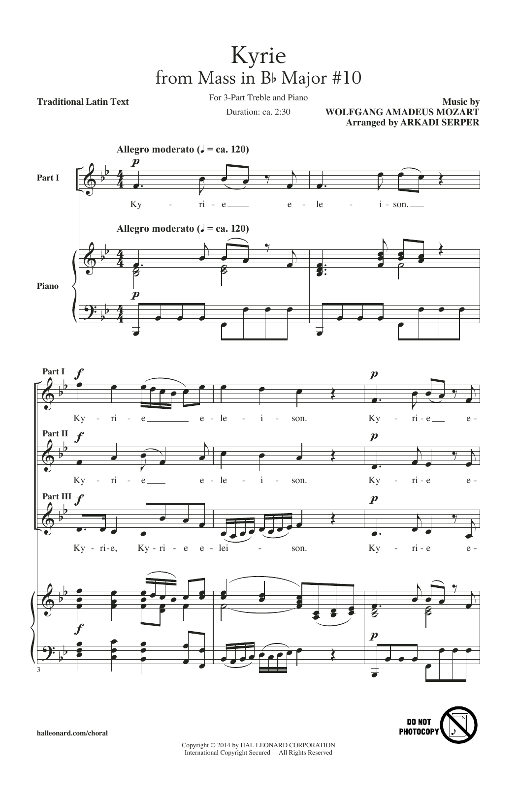 Download Arkadi Serper 'Kyrie (From The Mass In B-Flat Major #10)' Digital Sheet Music Notes & Chords and start playing in minutes