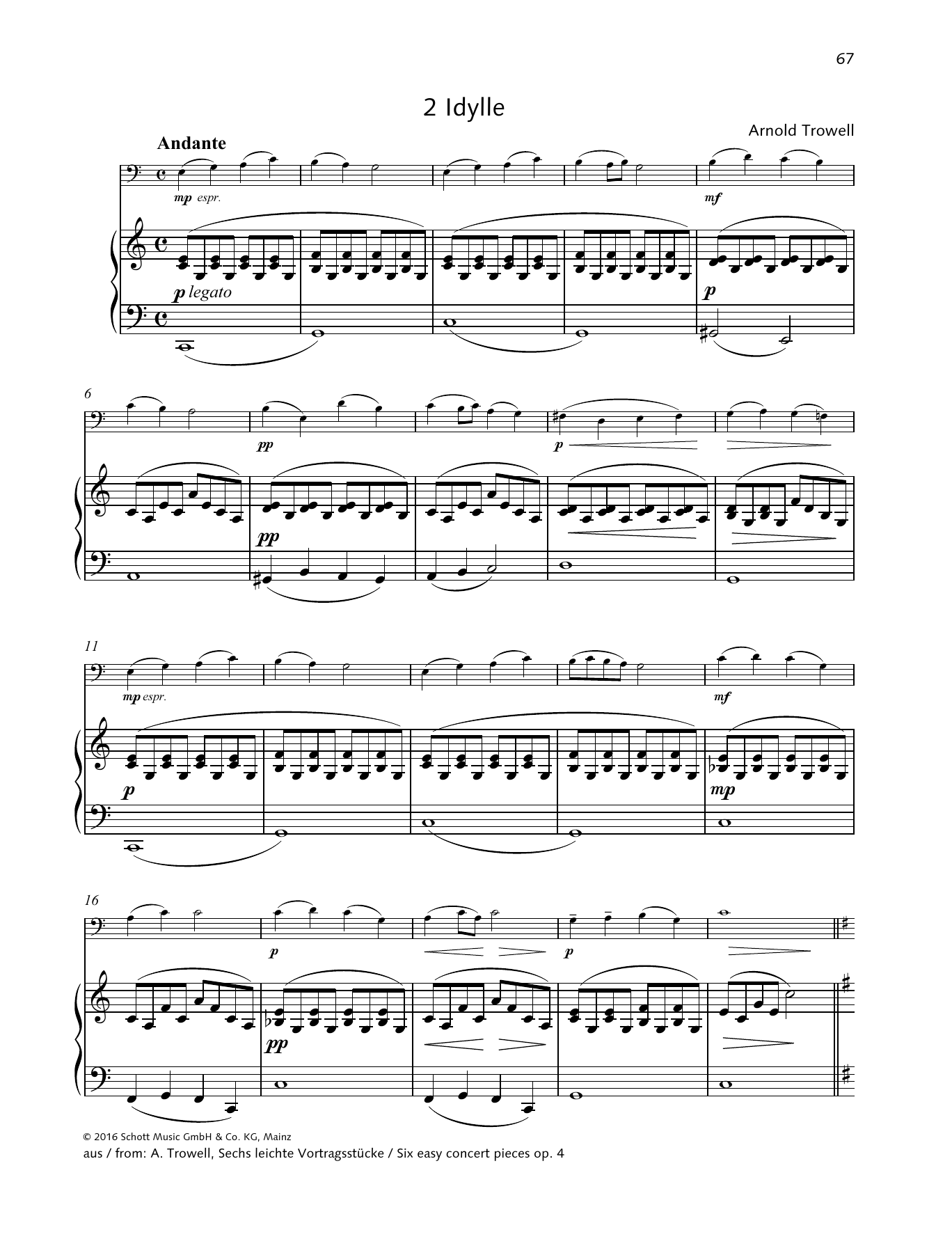 Arnold Trowell Idylle sheet music preview music notes and score for String Solo including 4 page(s)
