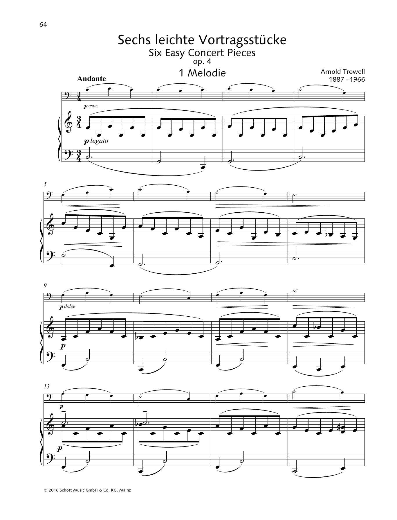 Arnold Trowell Melodie sheet music preview music notes and score for String Solo including 4 page(s)