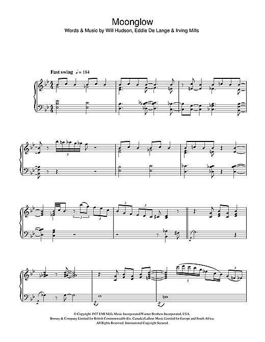 Art Tatum Moonglow sheet music notes and chords