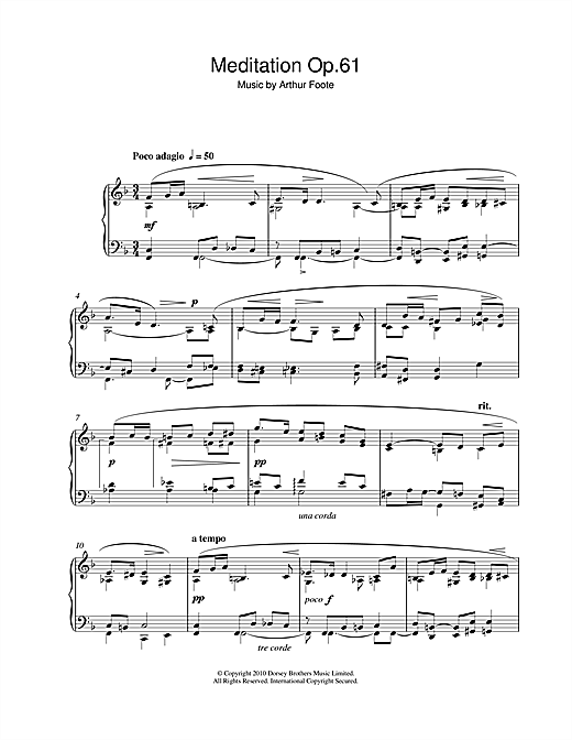 Download Arthur Foote 'Meditation Op.61' Digital Sheet Music Notes & Chords and start playing in minutes