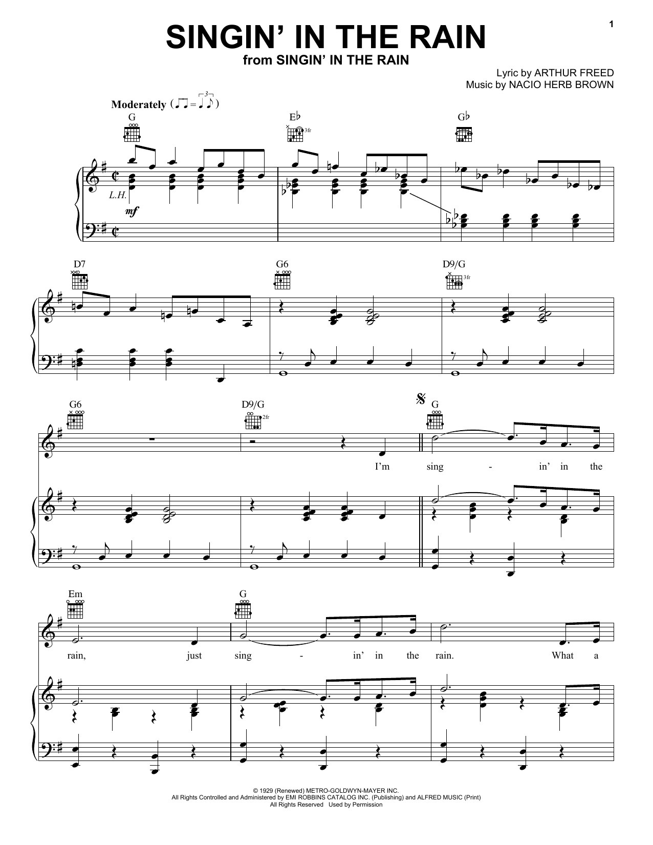 Download Arthur Freed 'Singin' In The Rain' Digital Sheet Music Notes & Chords and start playing in minutes
