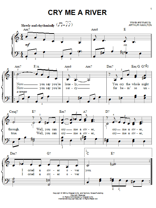 Download Arthur Hamilton 'Cry Me A River' Digital Sheet Music Notes & Chords and start playing in minutes