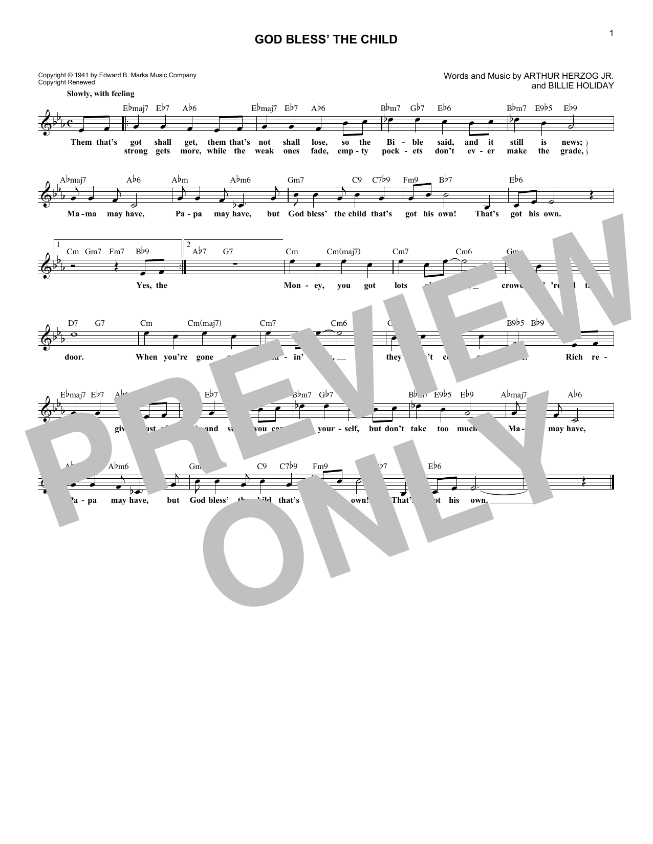 Download Arthur Herzog Jr. 'God Bless' The Child' Digital Sheet Music Notes & Chords and start playing in minutes