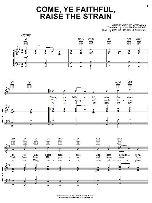 Arthur Seymour Sullivan Come, Ye Faithful, Raise The Strain sheet music notes and chords