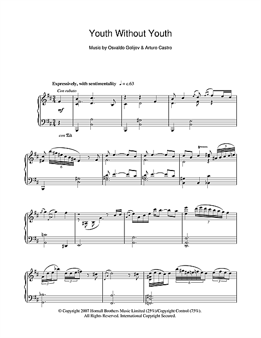 Arturo Castro Youth Without Youth (Youth Without Youth) sheet music notes and chords