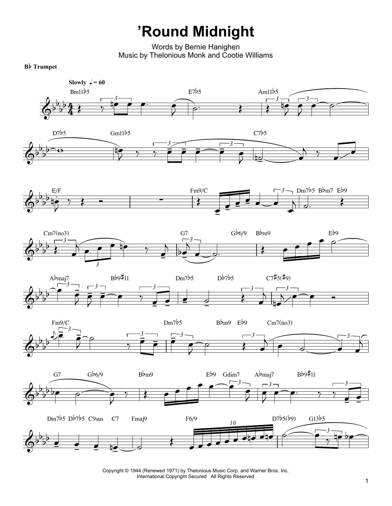 Download Arturo Sandoval ''Round Midnight' Digital Sheet Music Notes & Chords and start playing in minutes