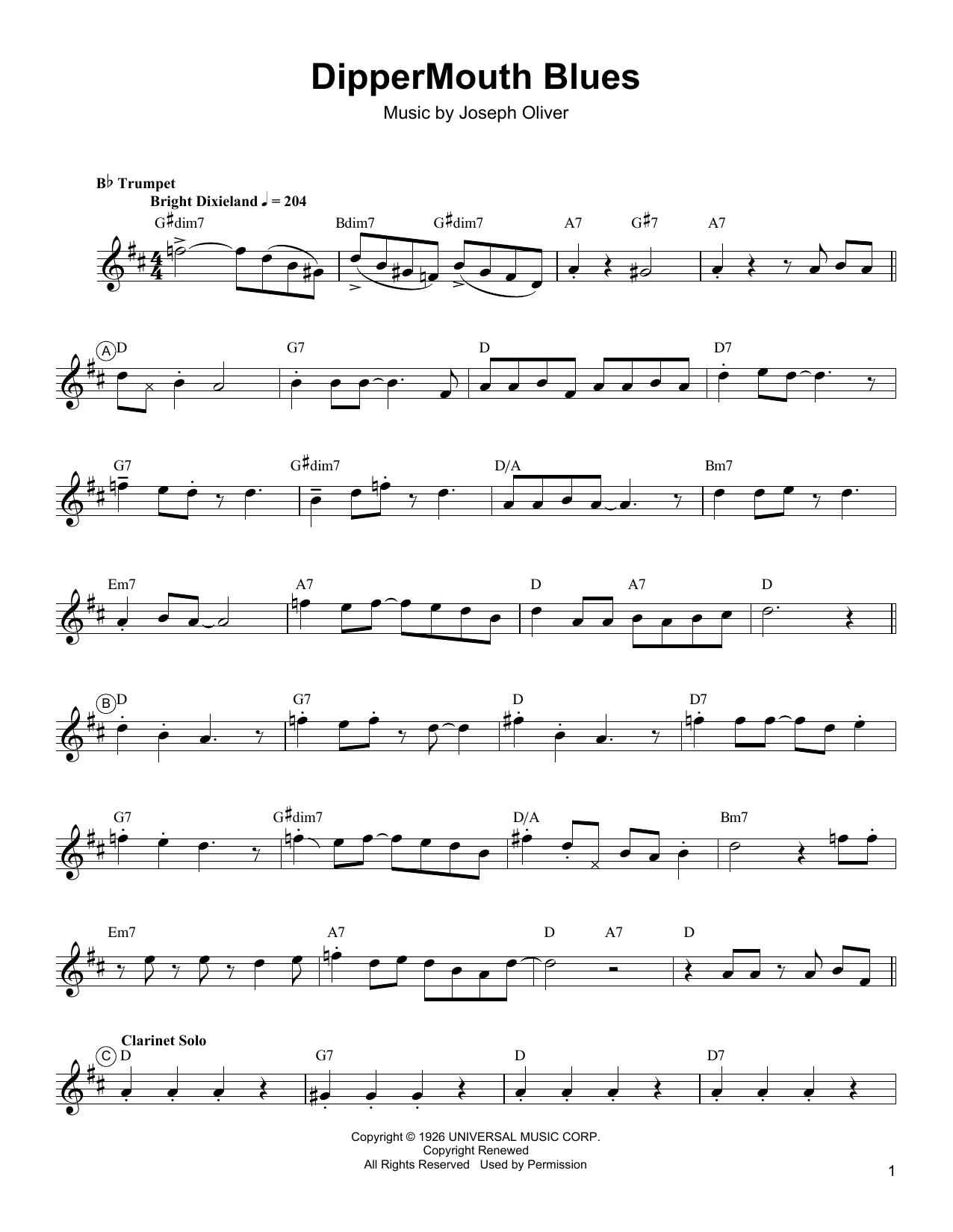 Download Arturo Sandoval 'Dippermouth Blues' Digital Sheet Music Notes & Chords and start playing in minutes