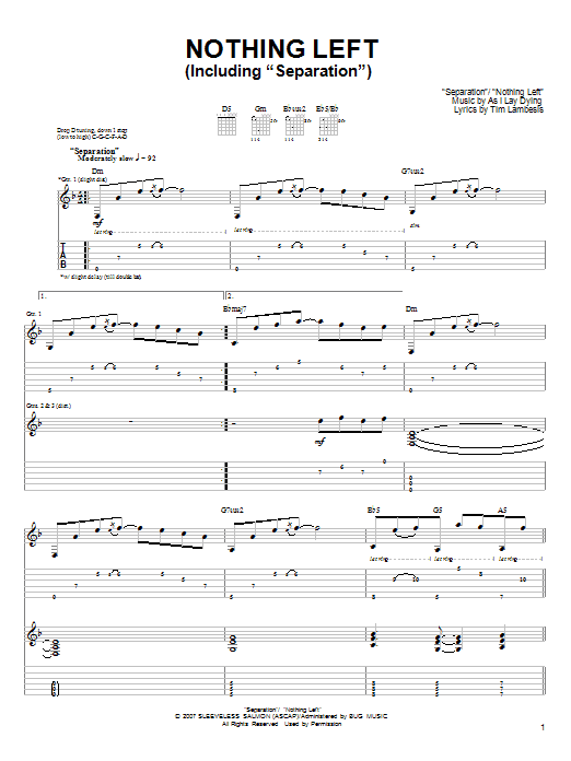 As I Lay Dying Nothing Left sheet music preview music notes and score for Guitar Tab including 15 page(s)