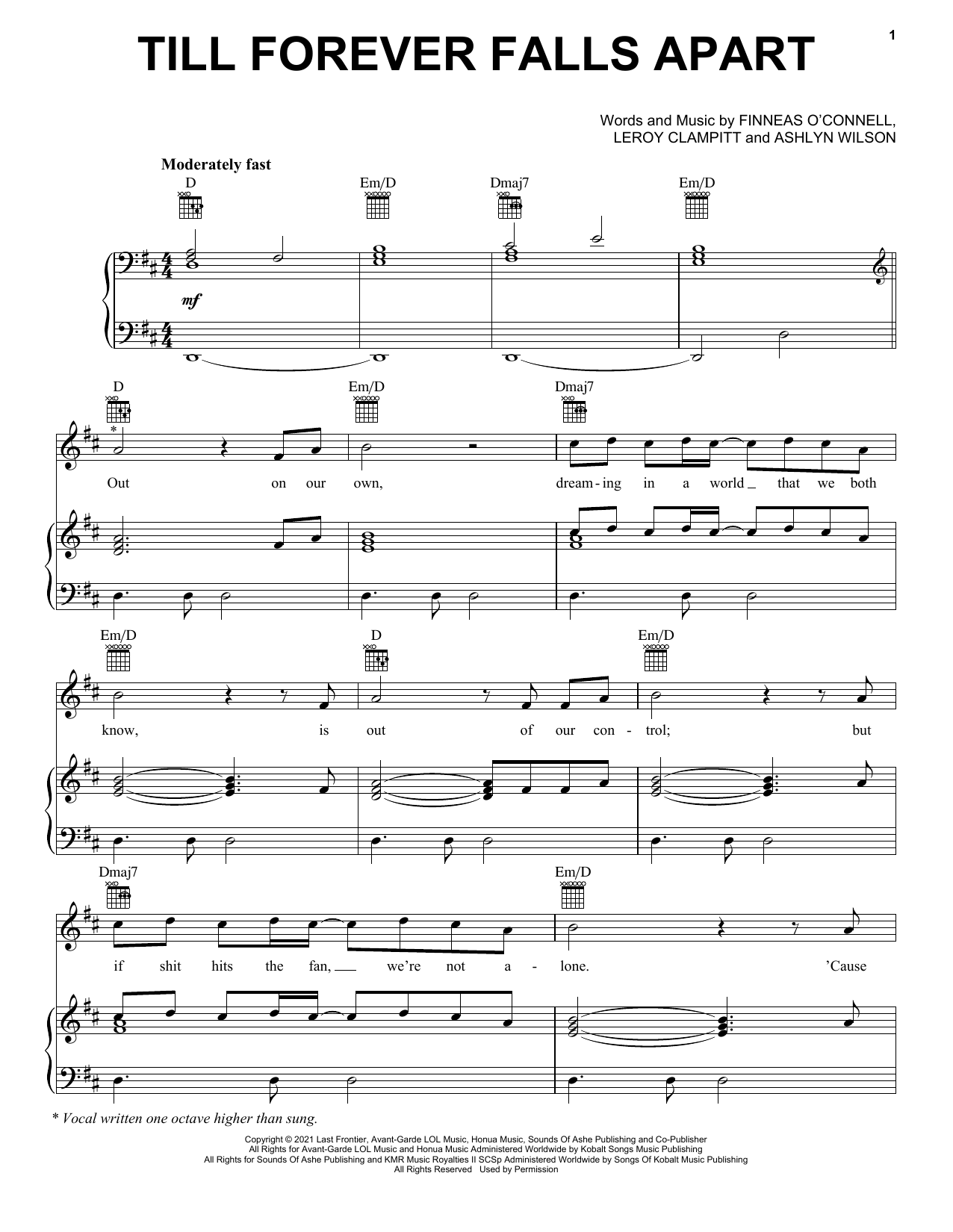 Ashe & FINNEAS Till Forever Falls Apart sheet music preview music notes and score for Piano, Vocal & Guitar (Right-Hand Melody) including 6 page(s)