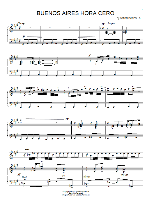 Download Astor Piazzolla 'Buenos Aires Hora Cero' Digital Sheet Music Notes & Chords and start playing in minutes