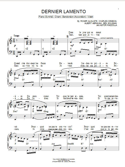 Astor Piazzolla Dernier lamento sheet music notes and chords